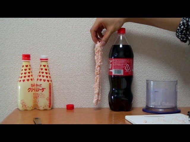 メントスで槍を作ってコーラにブッさす coca cola mentos