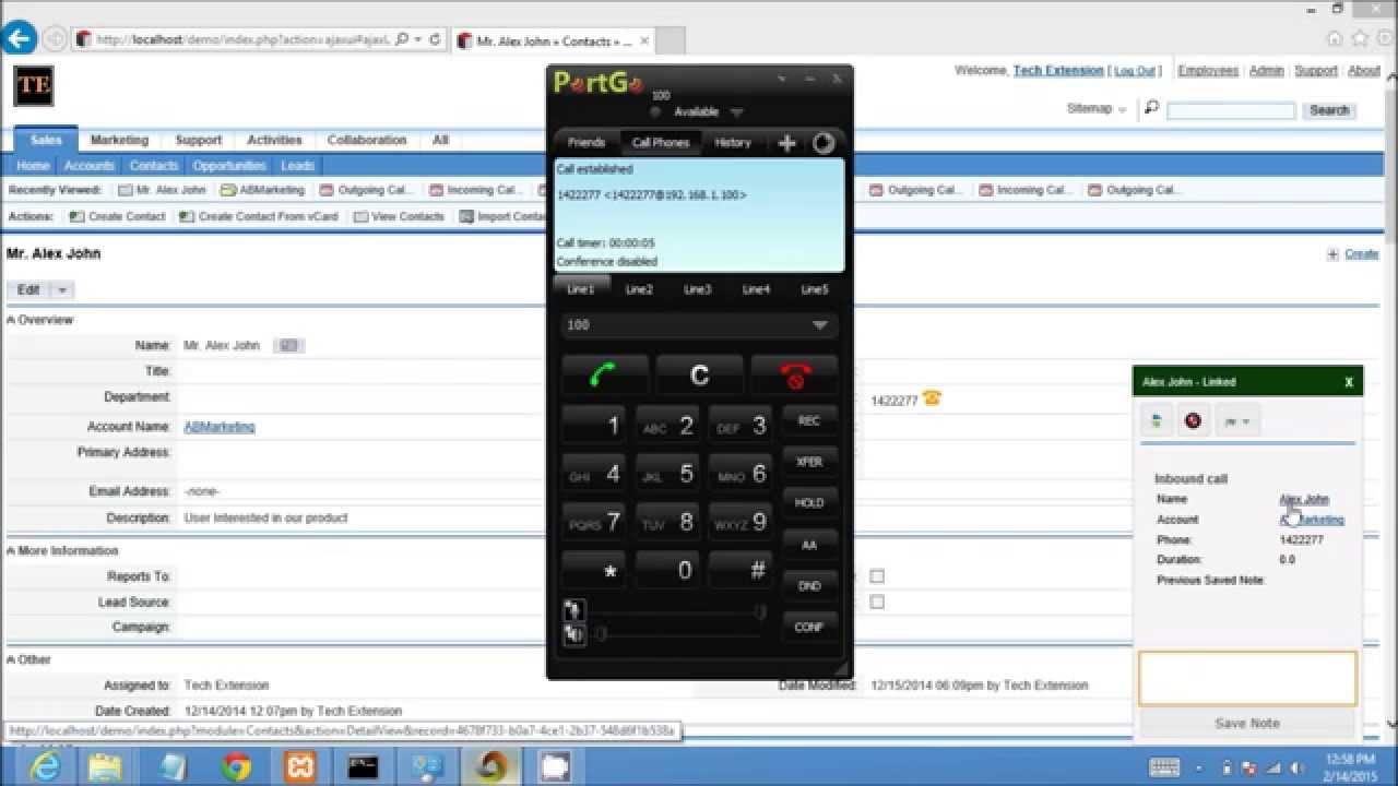 Inbound Call Demonstartion SUGARCRM ASTERISK Integration By Techextension  by TechExtension IT Solution