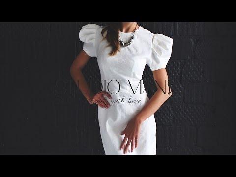 Жаккардовое платье с пышными рукавами от STUDIO MANIQ