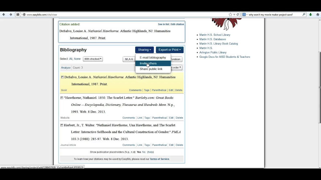 Part four easybib exporting your bibliography youtube part four easybib exporting your bibliography ccuart Choice Image