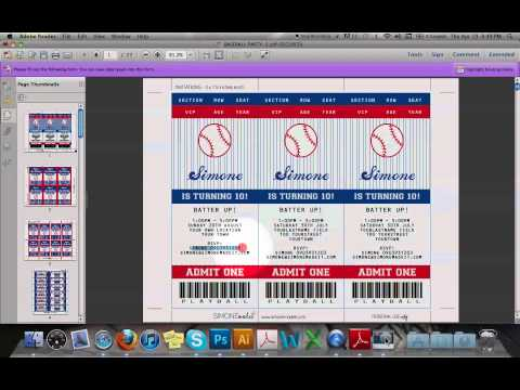 Baseball Ticket Invitation