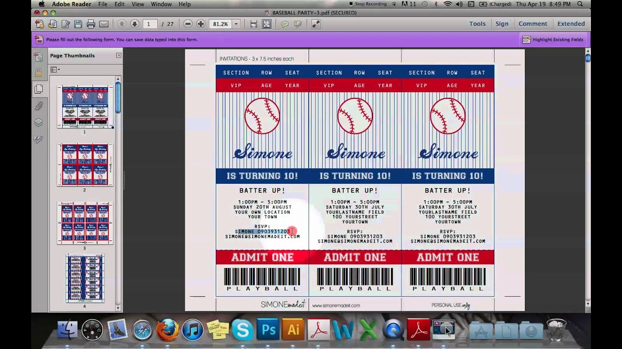 Baseball Ticket Invitation   YouTube  Concert Ticket Birthday Invitations