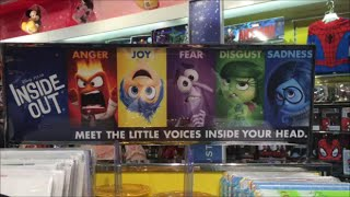 INSIDE OUT TOY AISLE DISNEY STORE  LONDON Inc., JOY, FEAR, DISGUST, ANGER AND SADNESS TOY DOLLS