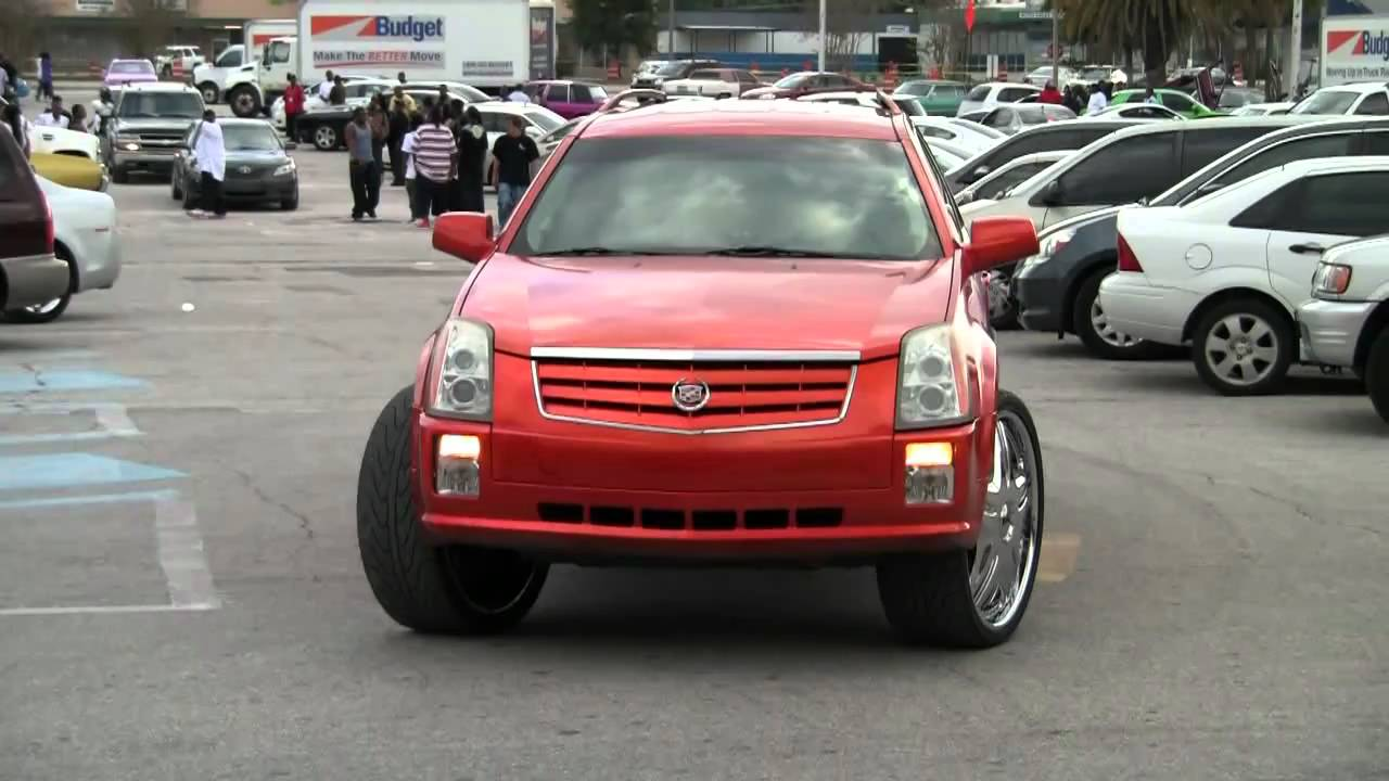 CADILLAC SRX on 26 INCH DUB CREAM RIMS - YouTube