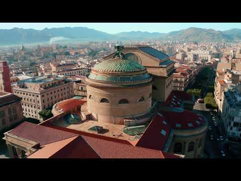 Massimo Theater in Palermo by drone in 4k