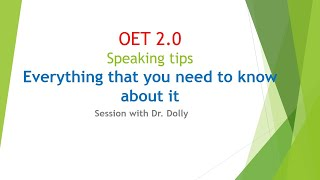 OET 2.0 SPEAKING TEST WITH Dr. DOLLY | Super Achievers Abroad Education