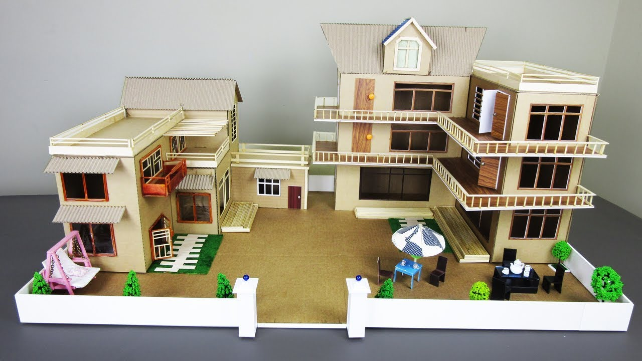 2 Diy Mansion House From Cardboard Compilation Popsicle Stick Dream House Model 16