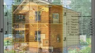 видео Проект коттеджа дома 9х7,5 с эркером, план, цена