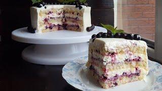 ТВОРОЖНЫЙ торт со СМОРОДИНОЙ 🍥 ПРОСТОЙ рецепт 🍥 Black currant cake