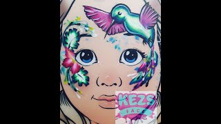 Pretty Bird Face Paint - Kezs Face Painting