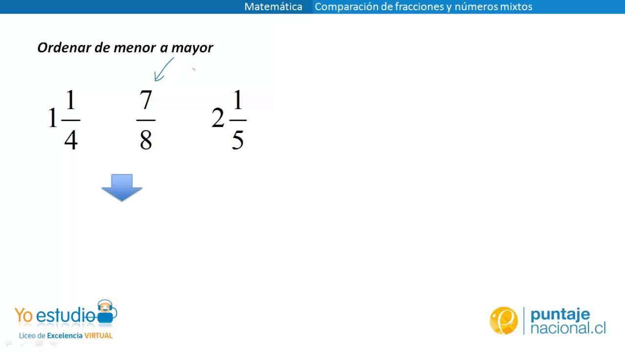 Matemática Ejercicios De Comparación De Fracciones Y Números Mixtos Youtube