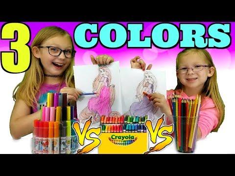 3 COLOR CHALLENGE!!! 3 Marker vs 3 Crayon vs 3 Colored Pencil !!!