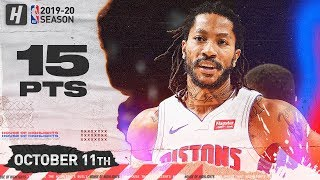 Derrick Rose Full Highlights Pistons vs Cavaliers (2019.10.11) - 15 Points in 3 Qtrs!