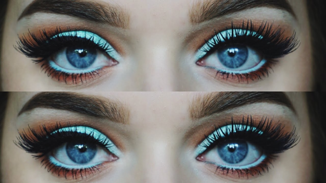 Aqua Glitter Cut Crease Eye Make Up Tutorial Rachel