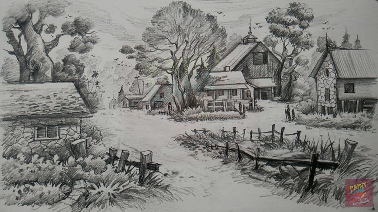 A Landscape With Pencil Pencil Art Paintlane Youtube