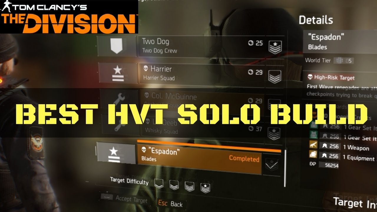 The Division HVT Solo Build Target Intel Tip + Gameplay