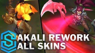Akali 2018 Rework - All Skins (Blood Moon, Headhunter, Infernal etc) thumbnail
