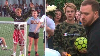 Justin Bieber Draws Hundreds Of Beliebers To Watch Him Play Soccer At UCLA