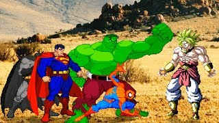 Superman Batman Spiderman Hulk VS Broly MUGEN Fighting Style 超人蝙蝠俠蜘蛛人浩克 對決 布羅利 2D格鬥遊戲風格版