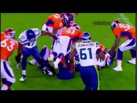 Robert Turbin Plows David Bruton in 2012 Preseason Game