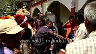 People get ready to proceed for Annapurna Devi Temple, Uttarakhand