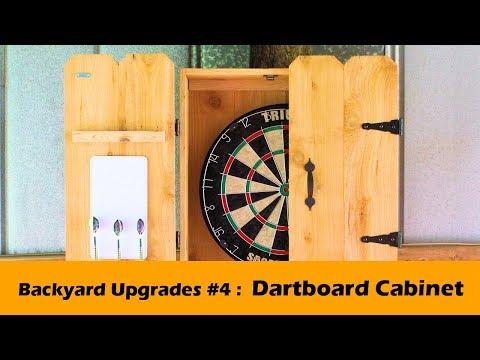 Simple Dartboard Cabinet With Rustic Cedar Barn Doors Backyard
