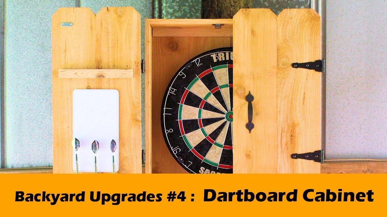 Custom Dartboard Cabinet With Rustic Cedar Barn Doors Backyard Upgrades 4