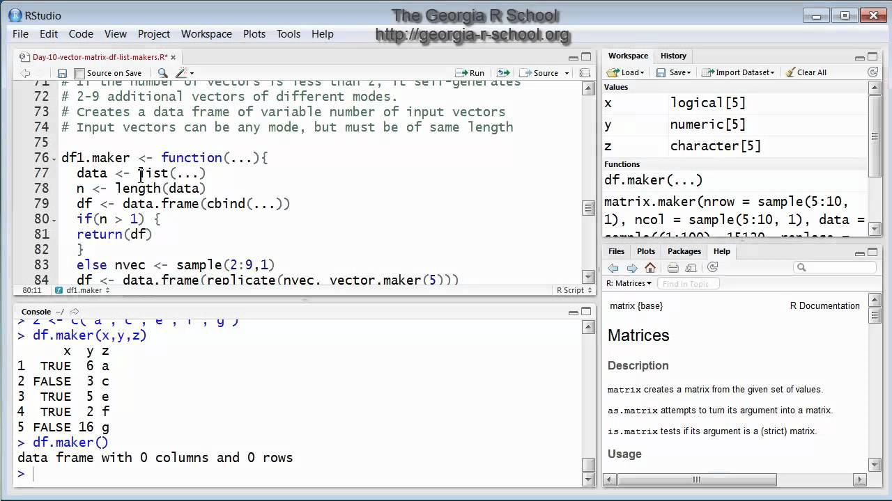Creating Functions in R: Data Frame Maker - YouTube