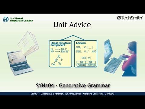 SYN104 - Unit Advice (Generative Grammar)
