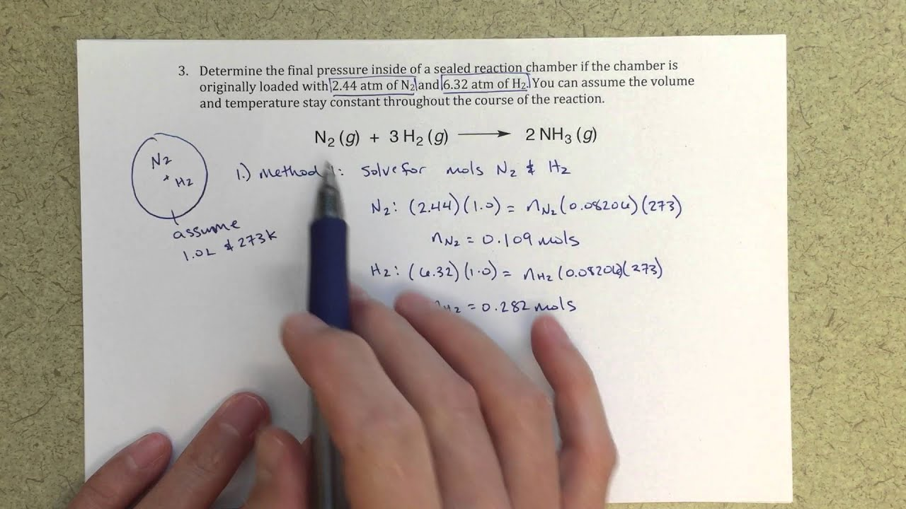 General Chemistry Ii  Ideal Gas Law  Determining Final Pressure In A  Chemical Reaction