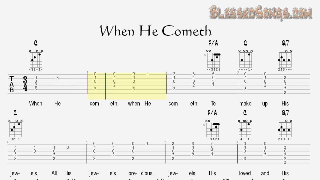 When he cometh guitar hymn lesson chords and tablature youtube when he cometh guitar hymn lesson chords and tablature hexwebz Images