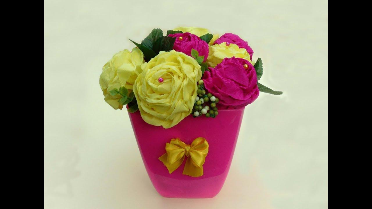C mo hacer rosas de papel crep youtube - Como hacer flores ...