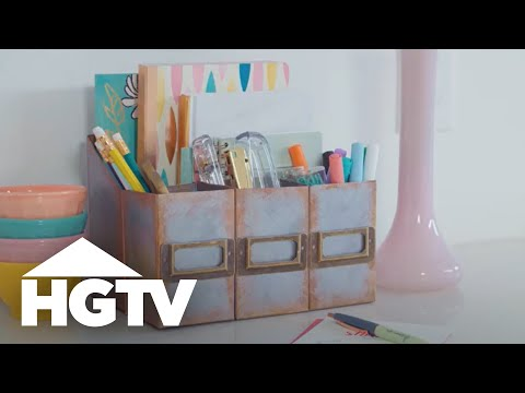 DIY Faux Metal Desk Organizer (Made From Cardboard!) - Easy Does It - HGTV