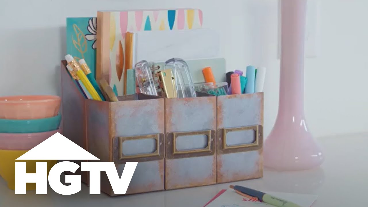 Diy Faux Metal Desk Organizer Made From Cardboard Easy Does It