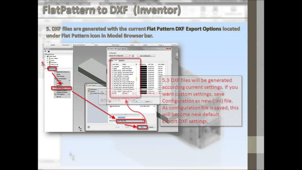 Inventor export FlatPattern to DXF