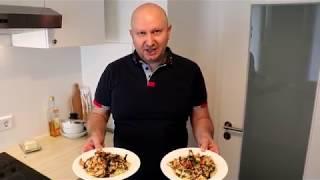 Тигровые креветки с белым вином и спагетти. Как открывать спагетти. Black tiger garnelen.