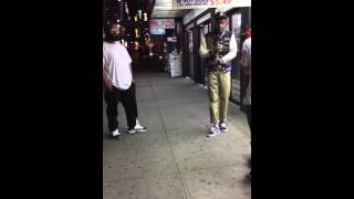 Dubbing with Wiz Khalifa in the background in NYC by Papaya Dog on 42nd Street and 9th Ave.