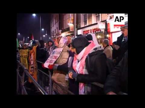 Protest outside Israeli embassy against offensive in Gaza