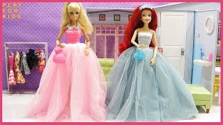 Barbie Doll & Ariel  morning routine, New Dress up