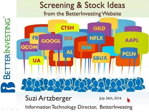 Screening and Stock Ideas from the Better Investing Website July 2016