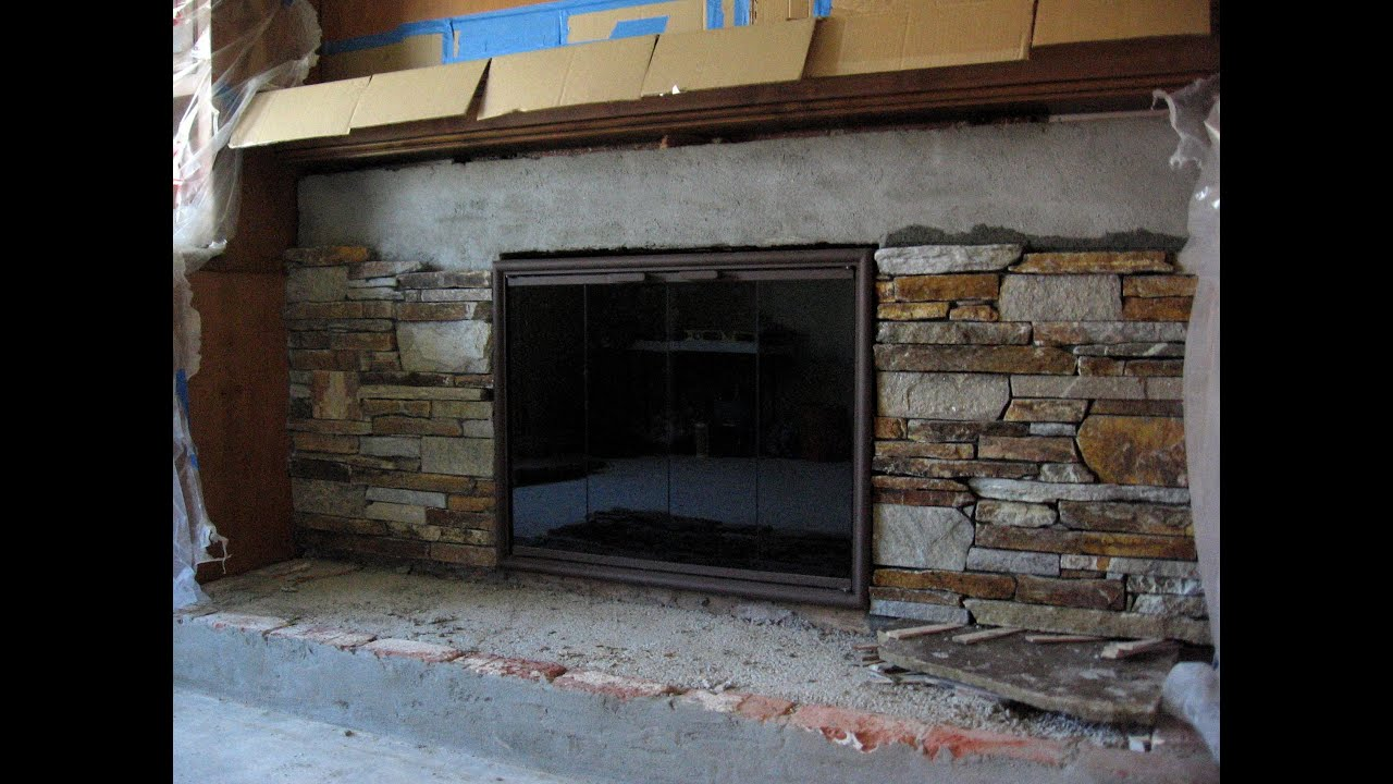 How To Reface A Brick Fireplace With Stone Veneer | Zef Jam
