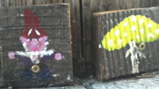 GNOMES of Oakland telephone poles.  Gnome and Mushroom portrait paintings; thousands sprout.
