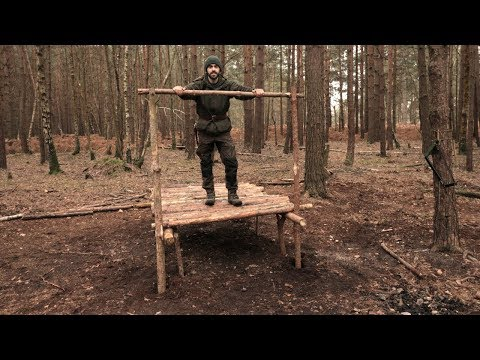 MAKING A RAISED SHACK SHELTER AT CAMP - Axe, Saw, Bushcraft, SOLO BUILD