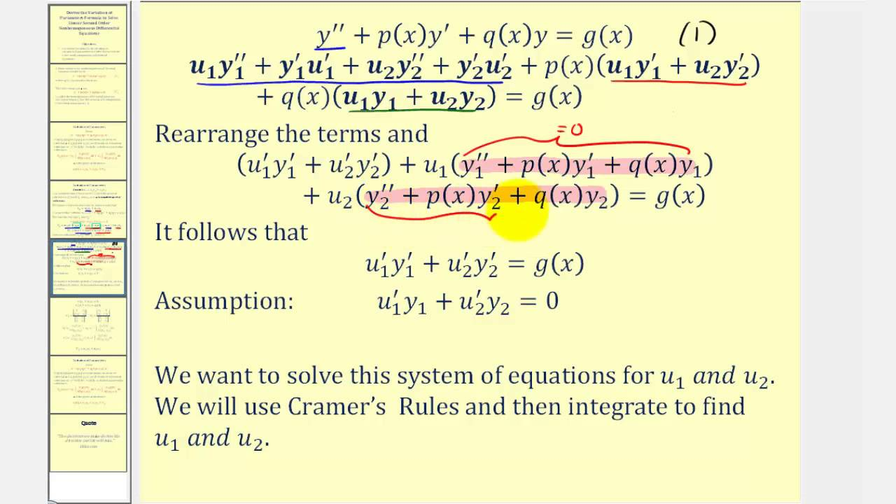 Derive The Variation Of Parameters Formula To Solve Linear