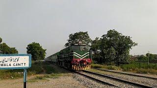 Fastest Train Green Line 5up Cruising through Gujranwala Cantt Station Pakistan Railways