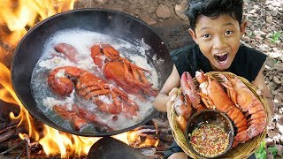 Survival Skills - Cooking big shrimp and eating delicious Ep31