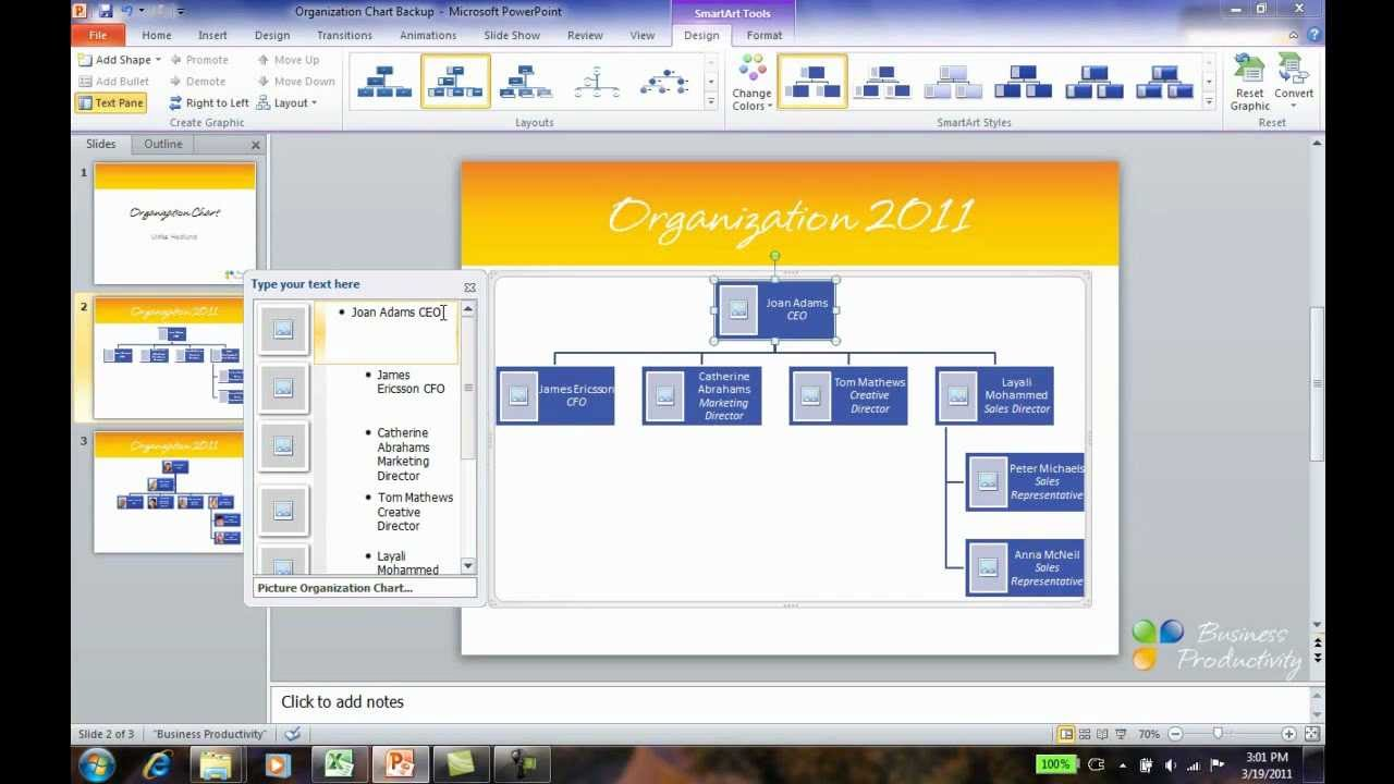how to create an org chart in powerpoint 2010