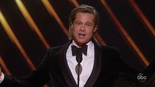 Brad Pitt Accepts The Oscar For Supporting Actor