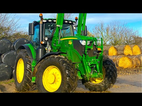 Moving Straw Bales With The NEW John Deere 6155R!