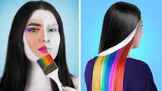Black and White vs Rainbow Challenge for 24 Hours!